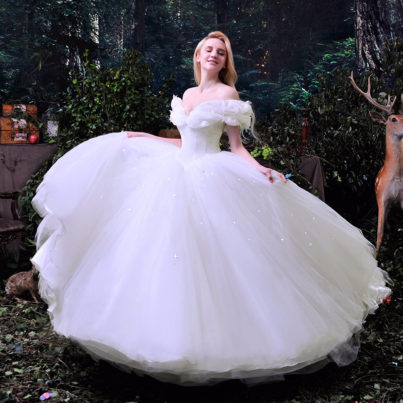 Hot sale 2016 new movie deluxe cinderella wedding dress for Cinderella wedding dress up