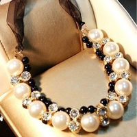 2016 Real Collares Jewelry Necklaces Vivi Models Big Crystal Necklace Sweater Chain Female Flowers Short Paragraph Clavicle