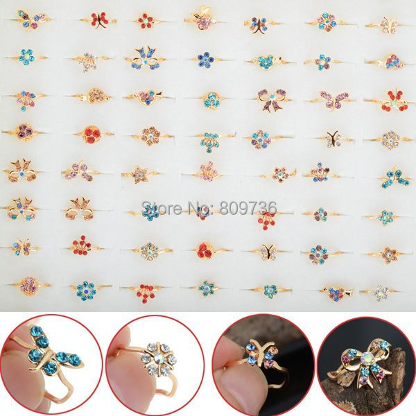 10pcs Wholesale Lot Gold Tone Assorted Design Crystal Ring Cute Kid Child Party Small Size Adjustable Jewelry Xmas Gift(China (Mainland))