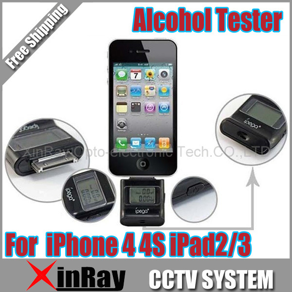 2013 Newest High quality Digital LCD Breath Alcohol Tester for iPhone 4 4S iPad PG-IH150 Free Shipping(China (Mainland))