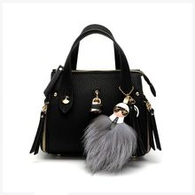 Famous Brand Fashion Fluffy Monster Fur Leather Tassel Keychain Car Key Chain Key Ring Women Bag Accessories Charm