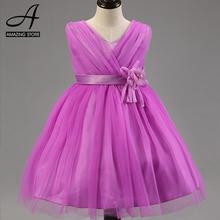 Purple ivory wedding gowns dresses Vneck high waist flower girls dresses little girls bridesmaid dresses vestidos ninas princesa(China (Mainland))