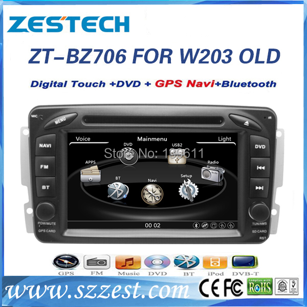 car dvd player for mercedes benz C Class w203 steering wheel car dvd player with GPS, buletooth, canbus ZT-BZ706(China (Mainland))