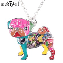Buy Bonsny Statement Metal Alloy Enamel Pug Dog Choker Necklace Chain Collar Bulldog Pendant 2016 Fashion New Enamel Jewelry Women for $5.19 in AliExpress store