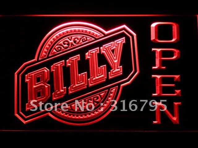 666-r Billy Beer OPEN Bar LED Neon Light Sign(China (Mainland))