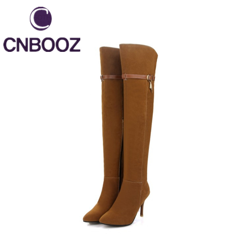 CNBOOZ Women Riding Boots Over The Knee Leather Boots Fashion Women Long Thigh High Heels Boots(China (Mainland))