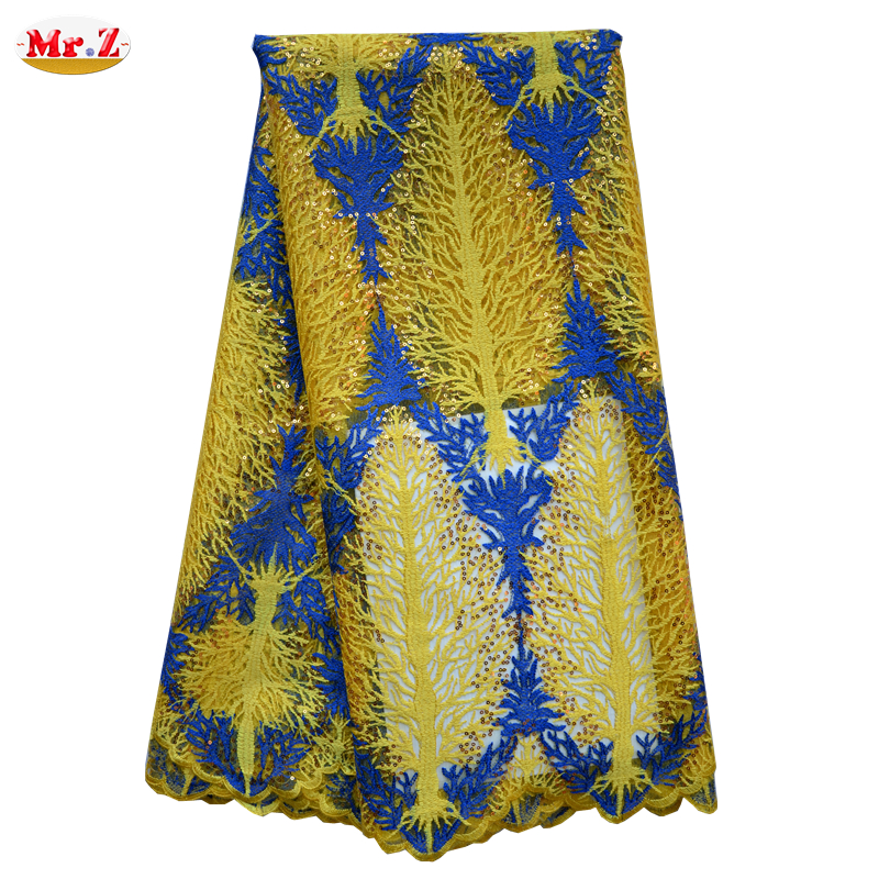 Mr.Z Embroidery African French Lace Fabric High Quality Sequin Mesh Fabric French Guipure Lace Fabric In Fabric For Party N1023(China (Mainland))