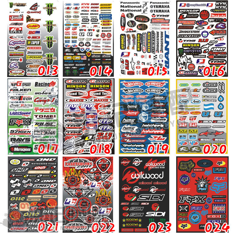 Free Shipping 1 Sheet 47 Models Waterproof Motorcycle Sticker Motorbike Car Sticker Decals Dirt Pit Bike Stickers Wholesale(China (Mainland))