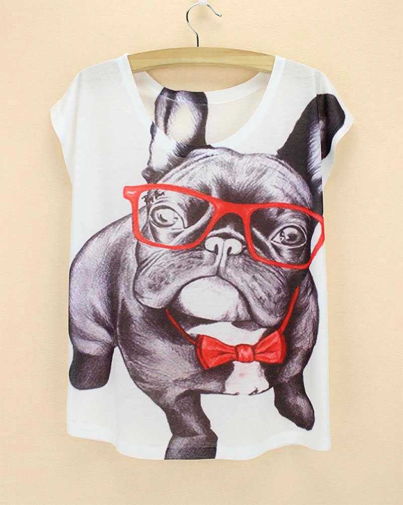 Cool Bulldog pattern women t-shirt new fashion 2015 summer dress girls printed tshirt cute cartoon top tees free shipping(China (Mainland))
