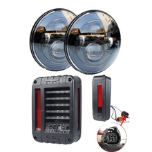 2X H4 7inch LED Headlight & LED Tail Light Kit Assembly For US Jeep Wrangler LED Headlights with LED TailLights Conversion (China (Mainland))