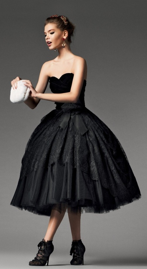 Vintage black gothic short tea length ball gown wedding for Black tea length wedding dress