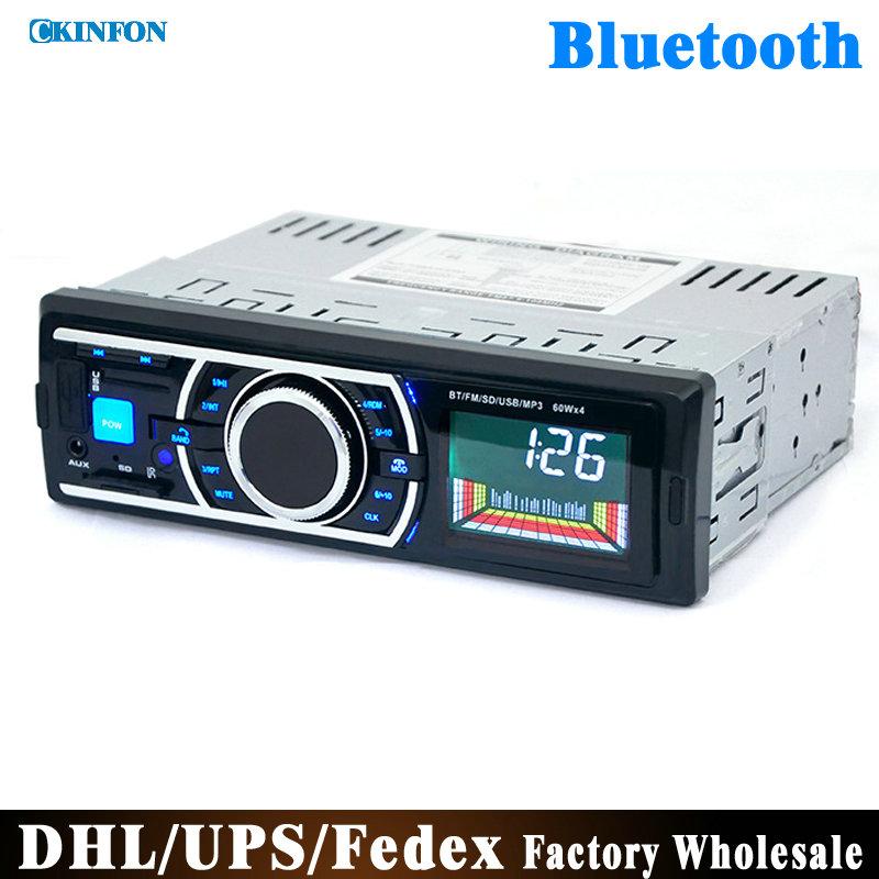 DHL/Fedex 50pcs/lot Bluetooth Car Stereo Audio In-Dash FM Aux Input Receiver SD USB MP3 Radio Play(China (Mainland))