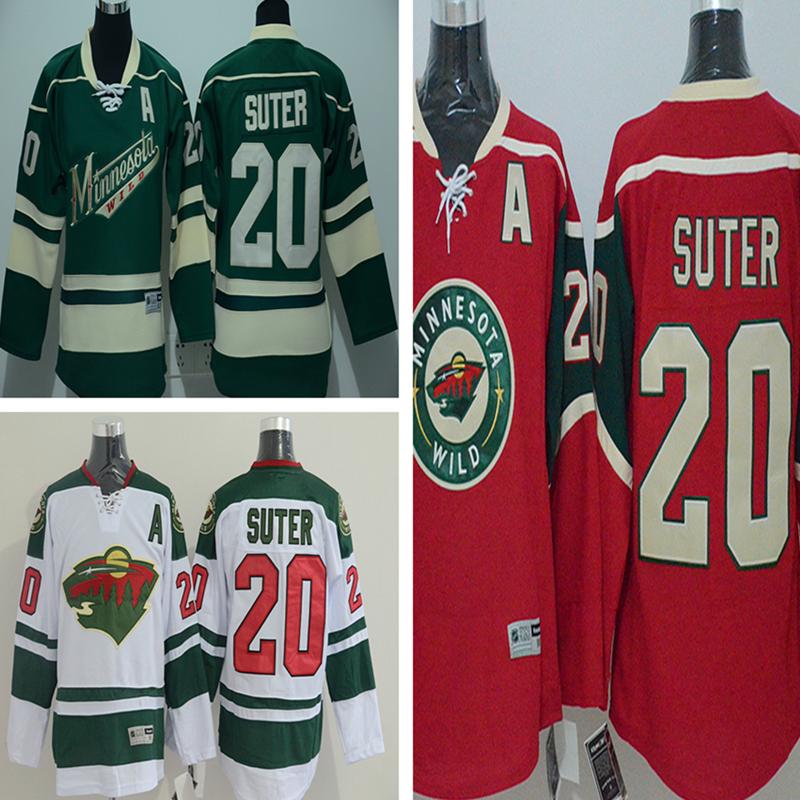 Men's Ryan Suter Jersey Men's Minnesota Wild #20 Ryan Suter Home Green White Red stitching High quality Ice Hockey Jerseys(China (Mainland))
