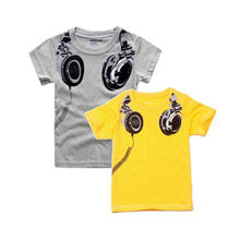 Hot Sale summer baby Boys kids T-Shirts Tops short sleeve Rock Music Headphones pring children's Clothing free shipping
