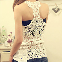 2016 Summer New Fashion Womens Tank top Sexy lace tops Crochet Back Hollow-out woman Vest Camisole lace Black& Whit Vest(China (Mainland))