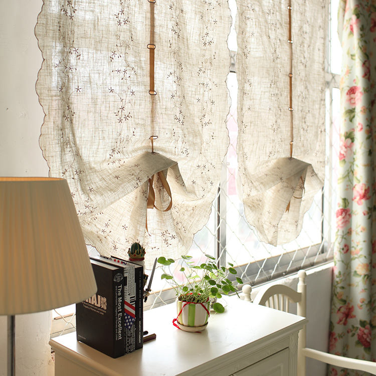 Fluid embroidery linen balloon curtain for living room window short kitchen curtain incurtains for Balloon curtains for living room