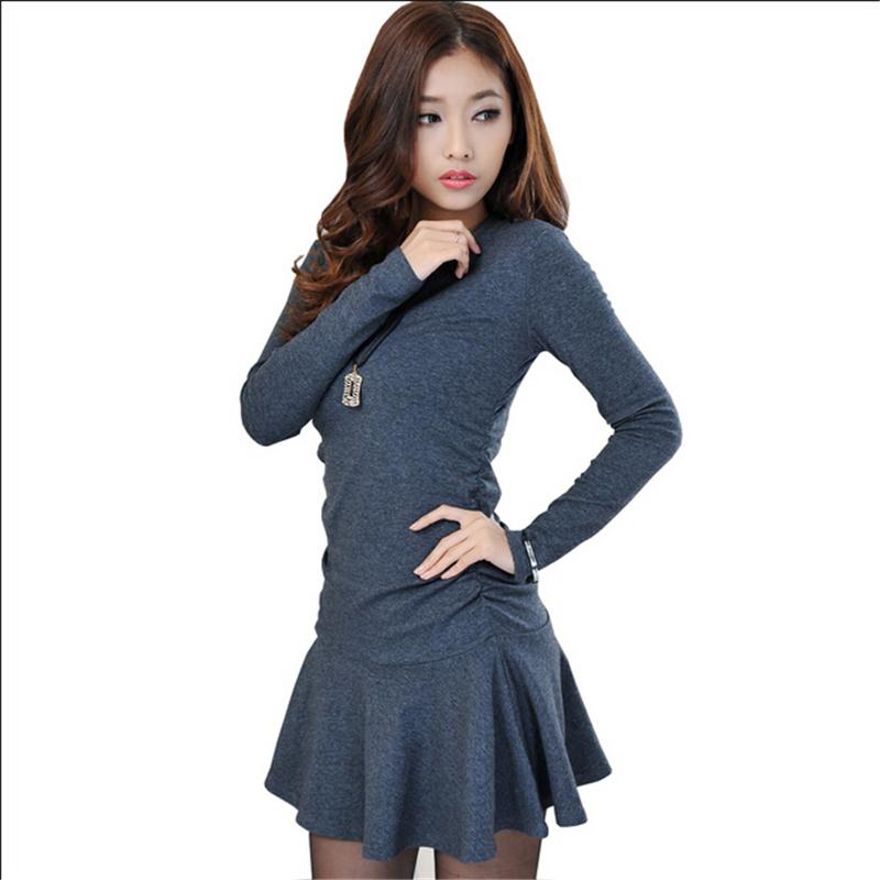 Mini Pleated Black Dress Casual Vestido Invierno 2015 Ladies Korean Style Dress Women Long