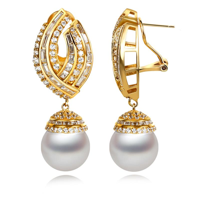 Love Deluxe Earrings-Luxury cubic zirconia earrings Imitation Pearl 18k gold plated crystal wedding bouquets bijoux Free postage(China (Mainland))