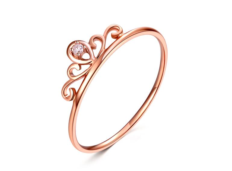Italy design Solid 18K Rose Gold An crown Ring / Ladys Ring Size 5<br><br>Aliexpress