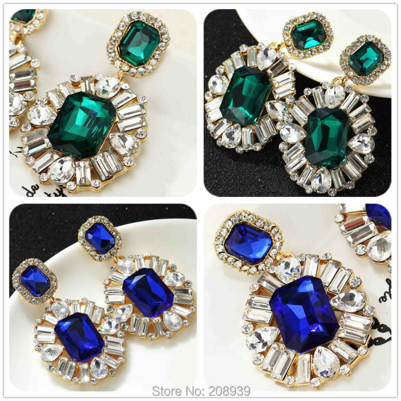 NEW Women Fashion Jewelry Style Earrings Handmade Green/Blue Glass Flower sweet stud crystal Dangle earrings for women girls(China (Mainland))