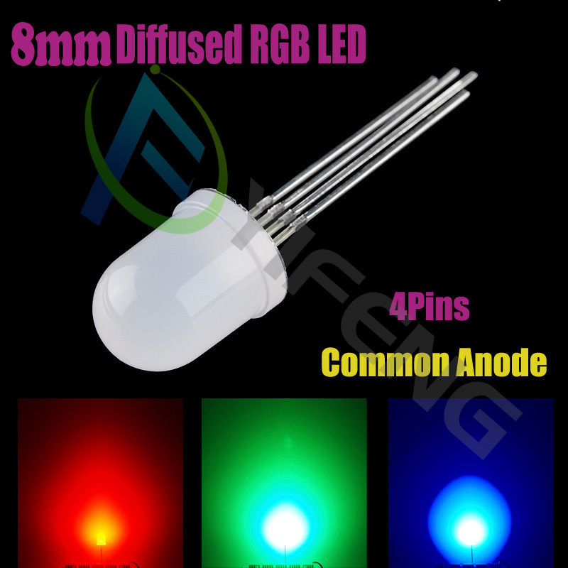 100pcs lot led 8mm rgb common anode 4 pin tri color emitting diodes f8 rgb diffused in diodes. Black Bedroom Furniture Sets. Home Design Ideas