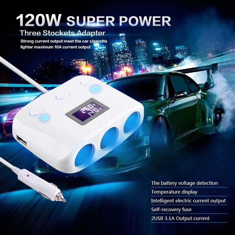 Car 3 Stockets Adapter Lighter Extension Socket Splitter Lighter 10A Current Output Power 2 USB Charger 12V 120W(China (Mainland))