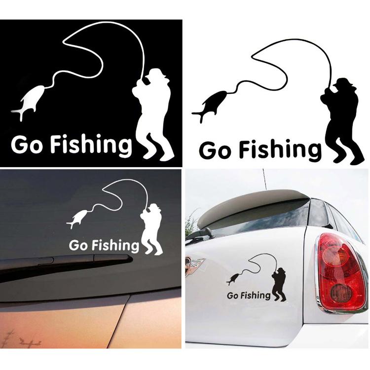 Гаджет  Trendy High Quality Cartoon Car Styling Car Stickers Go Fishing For Cars Decoration Color Black White CAR-0087 None Автомобили и Мотоциклы