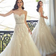 2016 Sweetheart Light Champagne Applique del cordón vestido De boda con Color rebordear Sash vestidos De novia en Stock Robe De Mariage(China (Mainland))