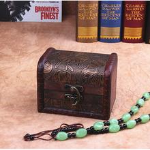 Vintage Retro Handmade Small Wood Storage Box Case Vintage Wooden Stamp Flower Metal Lock Jewelry Organizer