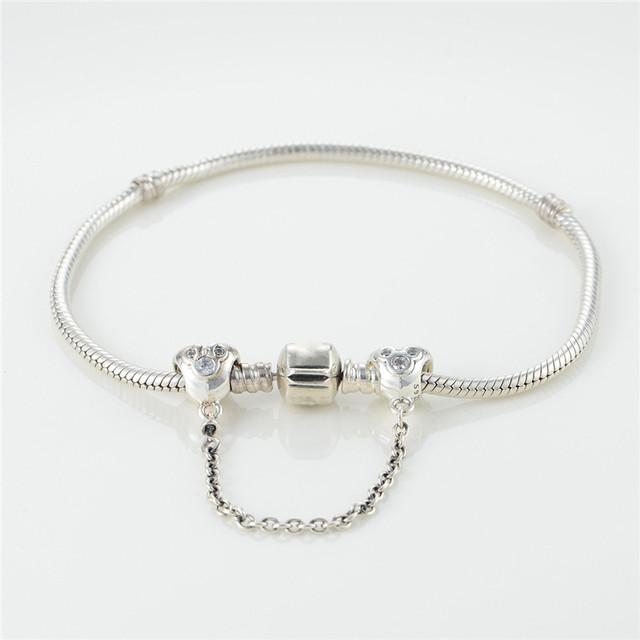 Cz камни цепи безопасности бусины стерлингового серебра 925 пробы украшения бусины Fit пандора неповторимое очарование браслеты DIY ювелирных украшений 2015 рас-нея