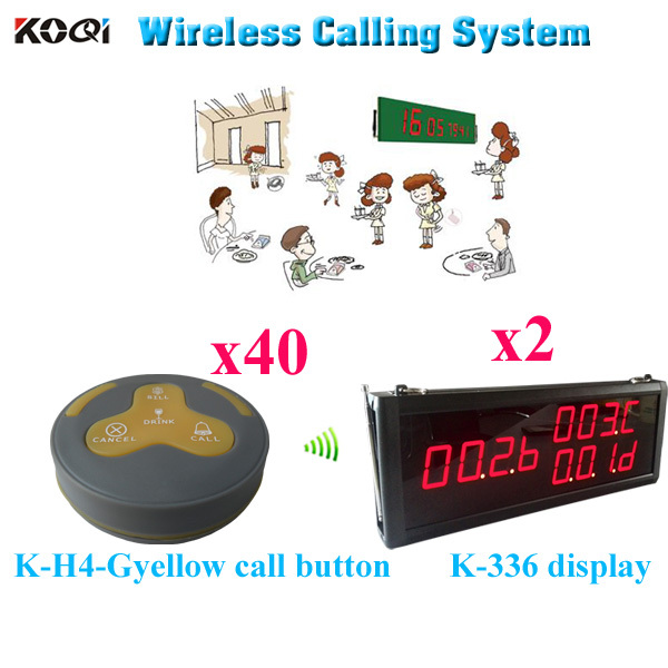 Long Range Pager System Wireless Restaurant Table Buzzer Service Calling Button Remote Waiter Caller ( 2 display 40 call button)(China (Mainland))