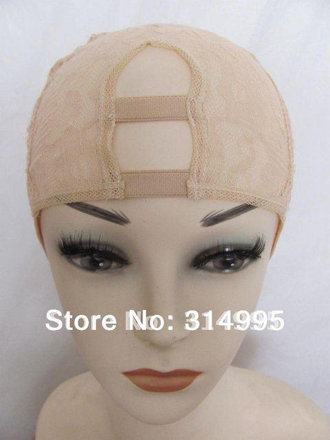 2014 china wholesale factory price beige middle part Instock adjustable u part wig making caps/u part wig cap