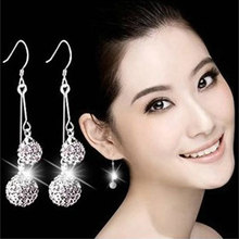 Buy 1Pair Silver Plated Bling Crystal Stones Shamballa Earrings Pendant Female Long Double Ball Earring Jewelry for $1.75 in AliExpress store