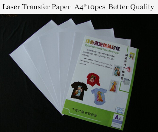 (A4*10pcs) Laser Heat Transfer Paper For Light T shirt Only Cheap Papers a4 Thermal Papel Fabric Toner Transfer Paper 150R(China (Mainland))