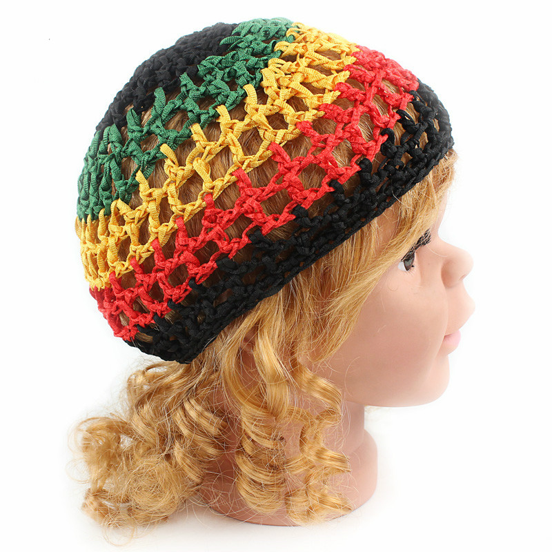 Crochet Hair On Net Cap : Hair Net Crochet Mesh Cap Color Red Yellow Black Green National Cap ...