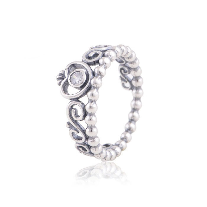 Free Shipping Fits Pandora Charm Authentic 925 Sterling Silver Princess Crown Ring Design Wedding Rings For Women Jewelry(China (Mainland))