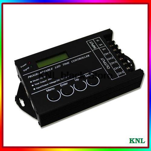 NEW! Programmable led time controller, 5 channel*20A DC12-24V, pc computer interface controller TC420, free shipping(China (Mainland))