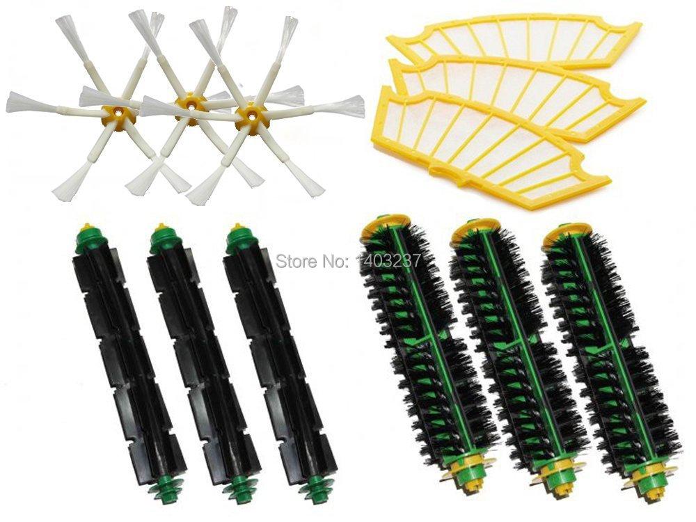 Bristle Brush Flexible Beater Brush Side Brush Filters for iRobot Roomba 500 Series 510, 530, 535, 540, 550, 560, 570, 580, 610(China (Mainland))