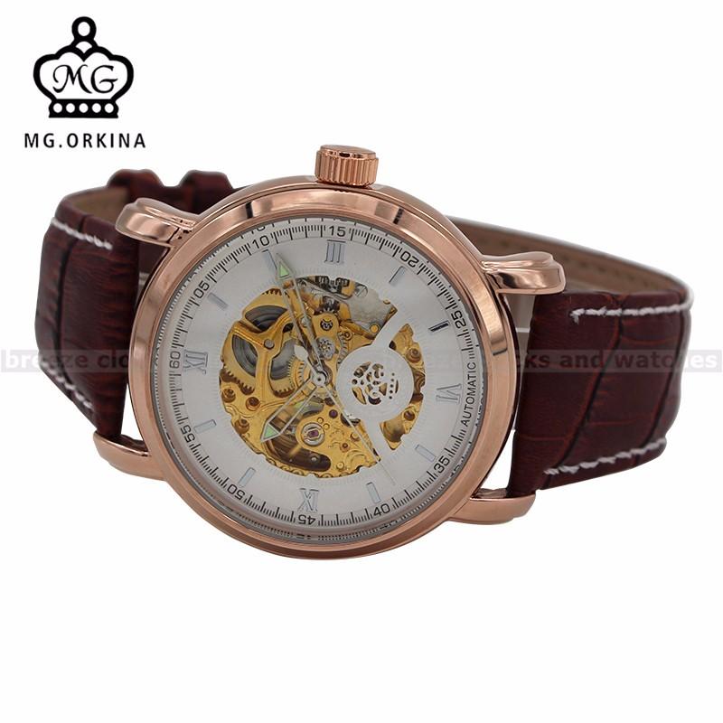 ORKINA Розового Золота Большой Циферблат Кожаный Ремешок Автоматическая Мужские Часы Heren Horloge Мужской Часы Часы Саат Эркек