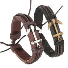 Durable Diomedes brand  bracelets men  Men's Anchor Design Alloy Leather Bracelet  men jewelry(China (Mainland))