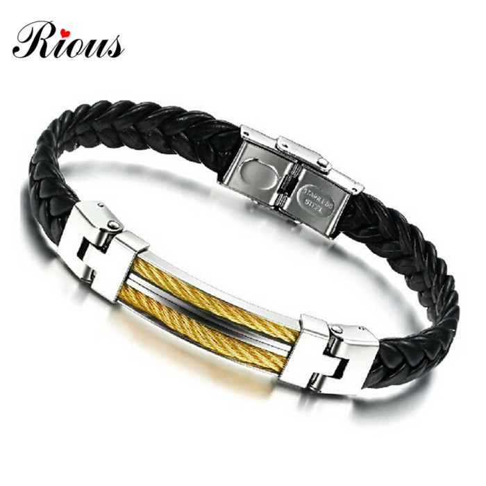 2015 Fashion Stainless Steel Button 18k Gold plated buckle Leather Bracelets Bangles charm For Men's Jewelry Rock Chunky style(China (Mainland))