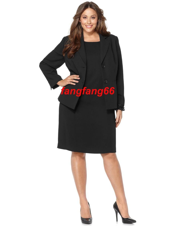Plus Size Notched Collar Jacket & Sleeveless Sheath Dress Custom Made Suit Black Woman (Jacket+Dress) HS7957 - fangfang66 store