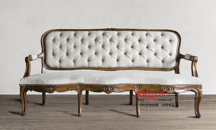 French antique wood carved trio of sofa studio villa nostalgic furniture can be customized(China (Mainland))