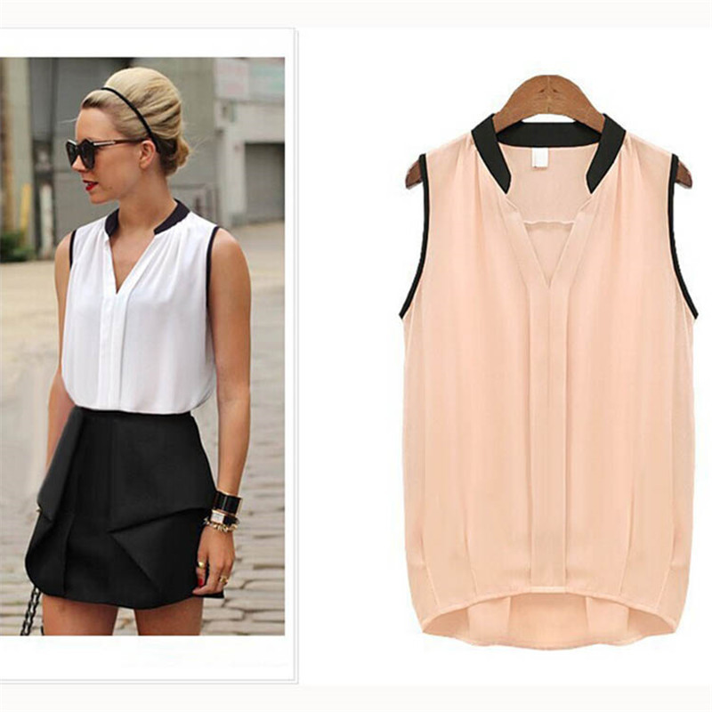 S XL Women Casual Chiffon Plus Size Sleeveless Shirt