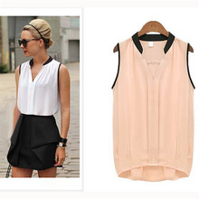 S-XL Women Casual Chiffon Plus Size  Sleeveless Shirt