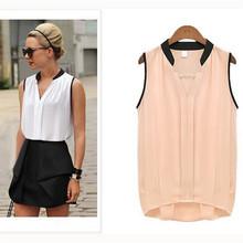 S-XL Women Casual Chiffon Plus Size  Sleeveless Shirt