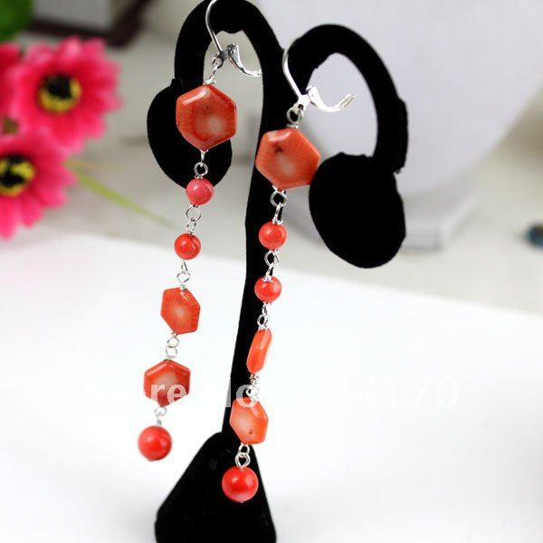 EMS Free Shipping Natural Coral Earrings 10/16mm Hexagon-Shaped Coral Beads<br><br>Aliexpress