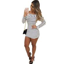 Buy Autumn Women Shirt Dress 2016 Fashion Long Sleeve Slash Neck Black White Striped Dresses Sexy Bodycon Dress Long T-shirt KP#451 for $13.99 in AliExpress store