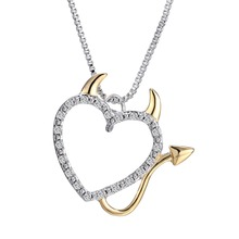 Buy Hot Gold Silver Plated Love Heart Accent Devil Heart Pendant Necklaces Jewelry Women Summer Decoration Box Chains for $1.28 in AliExpress store