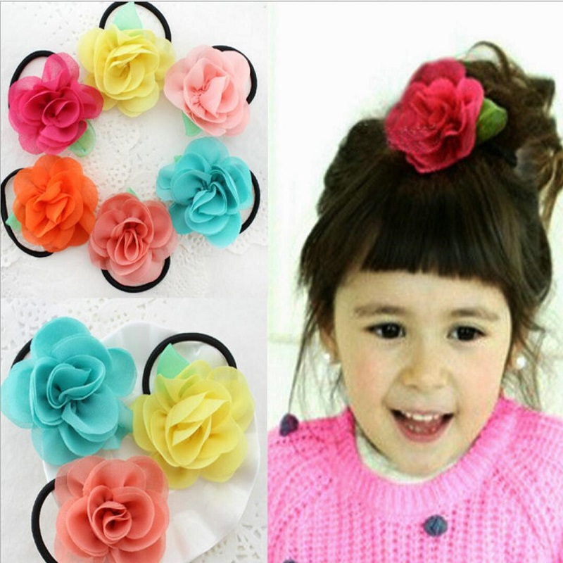 2016 children hair accessories Big roses flower rubber bands girl headwear bow hair tie rope baby Elastic Ponytail Holders(China (Mainland))